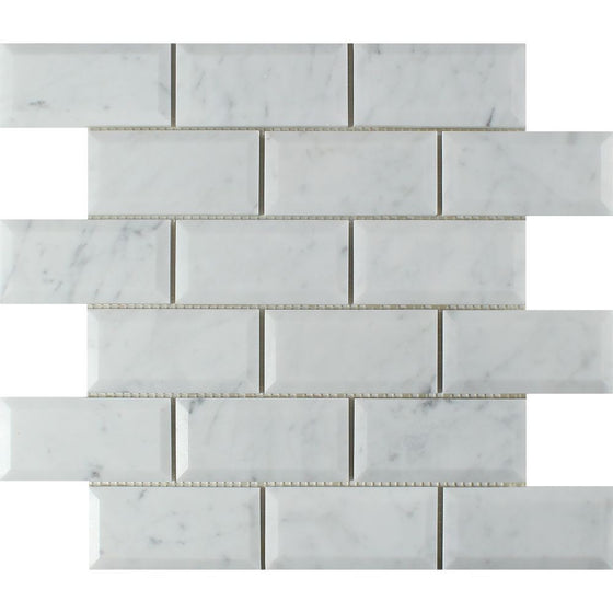 2 x 4 Polished Bianco Carrara Marble Deep-Beveled Brick Mosaic Tile