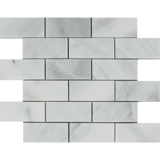 2 x 4 Polished Bianco Mare Marble Brick Mosaic Tile
