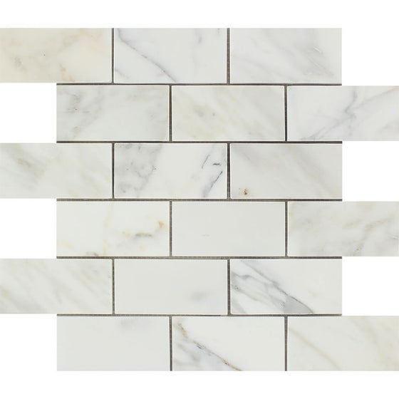 2 x 4 Polished Calacatta Gold Marble Brick Mosaic Tile - Tilephile