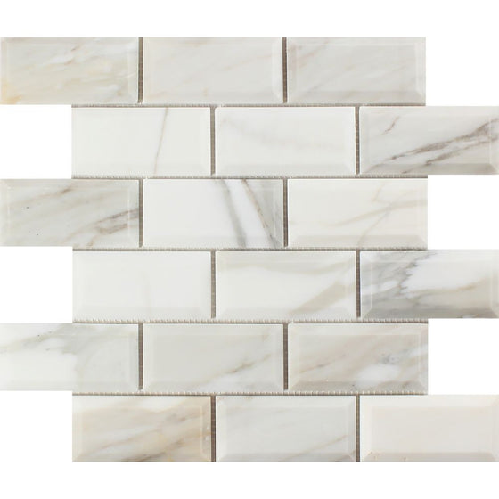2 x 4 Polished Calacatta Gold Marble Deep-Beveled Brick Mosaic Tile
