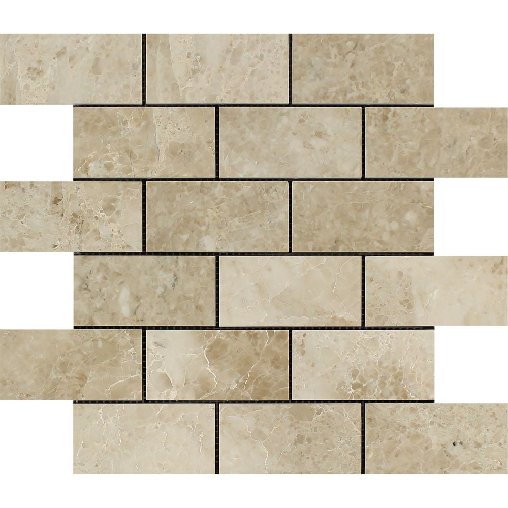2 x 4 Polished Cappuccino Marble Brick Mosaic Tile - Tilephile