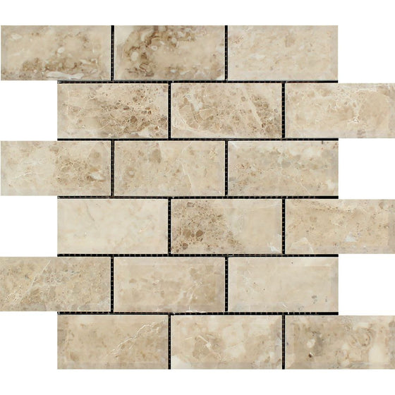 2 x 4 Polished Cappuccino Marble Deep-Beveled Brick Mosaic Tile