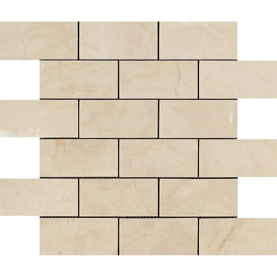 2 x 4 Polished Crema Marfil Marble Brick Mosaic Tile - Tilephile
