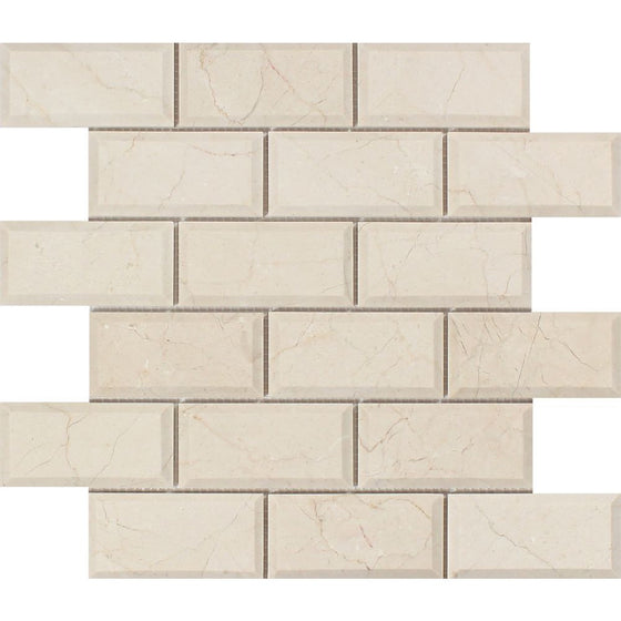 2 x 4 Polished Crema Marfil Marble Deep-Beveled Brick Mosaic Tile - Tilephile