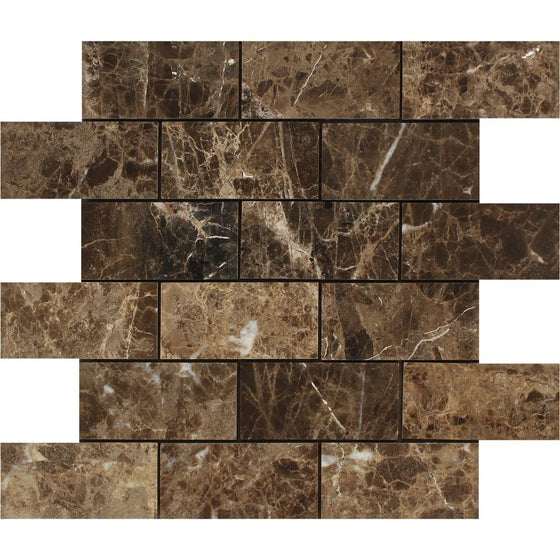 2 x 4 Polished Emperador Dark Marble Brick Mosaic Tile