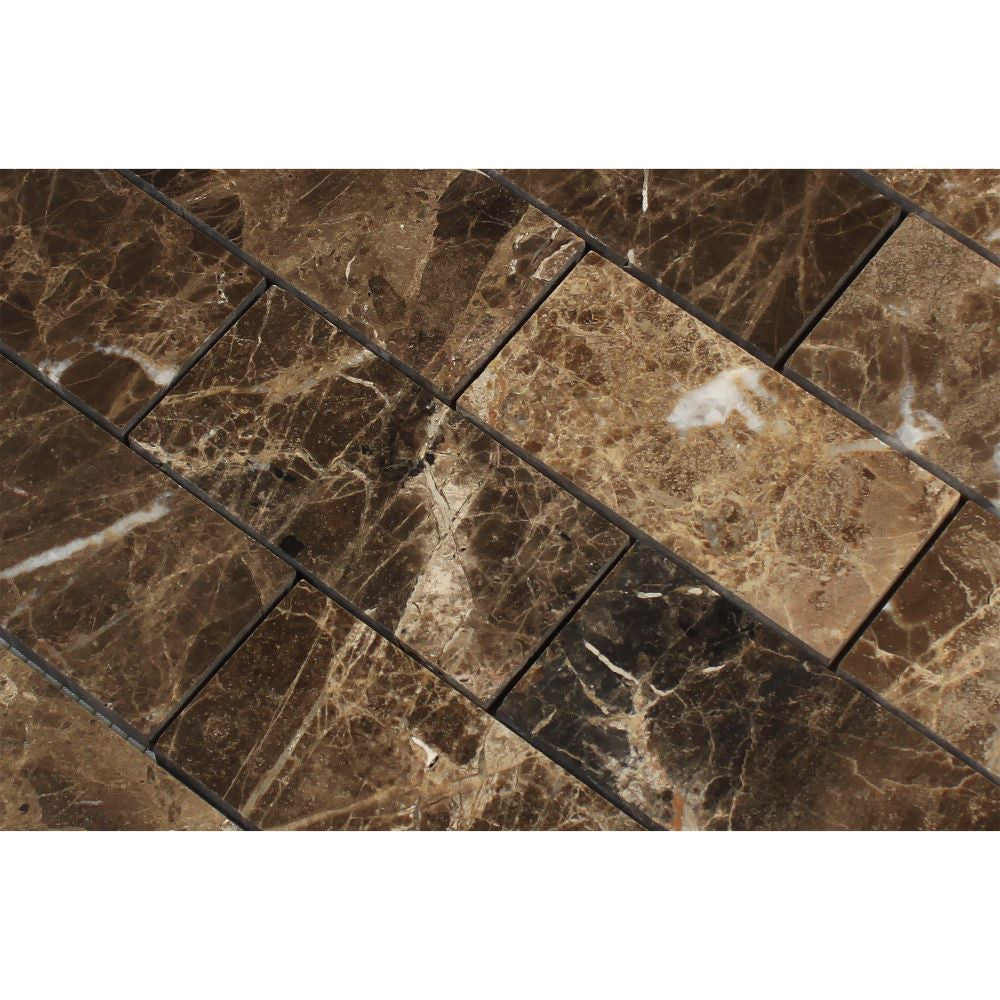 2 x 4 Polished Emperador Dark Marble Brick Mosaic Tile - Tilephile
