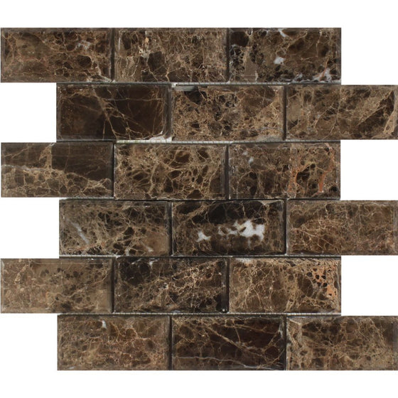 2 x 4 Polished Emperador Dark Marble Deep-Beveled Brick Mosaic Tile