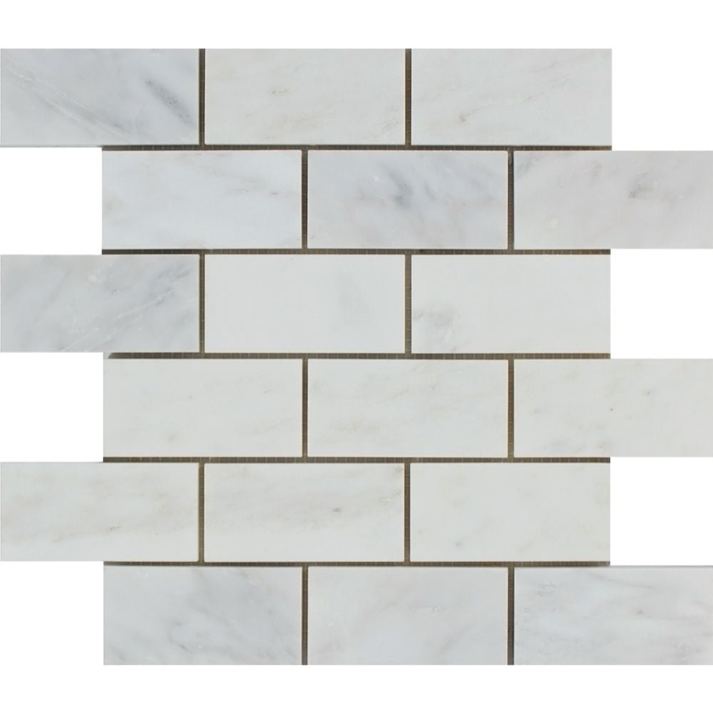 2 x 4 Polished Oriental White Marble Brick Mosaic Tile Sample - Tilephile
