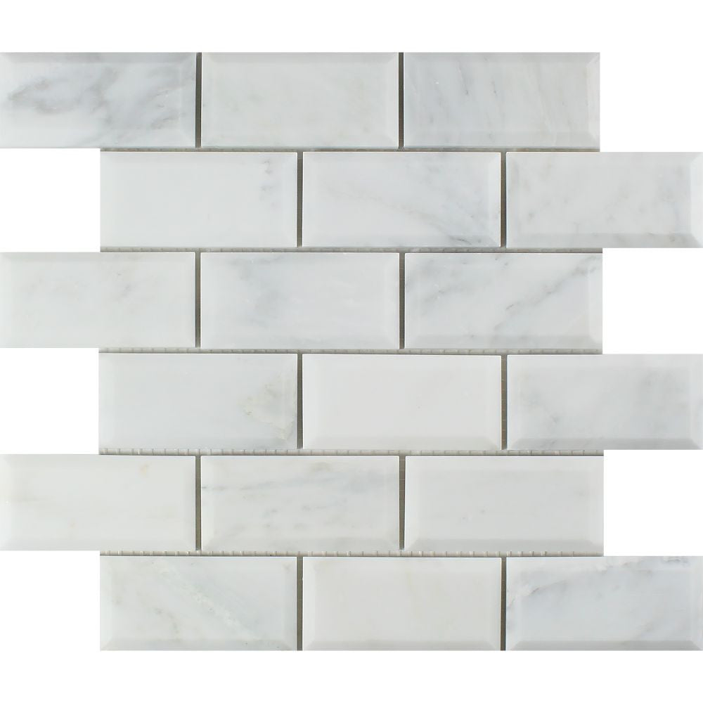 2 x 4 Polished Oriental White Marble Deep-Beveled Brick Mosaic Tile Sample - Tilephile
