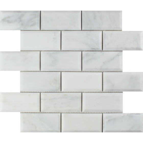 2 x 4 Polished Oriental White Marble Deep-Beveled Brick Mosaic Tile - Tilephile