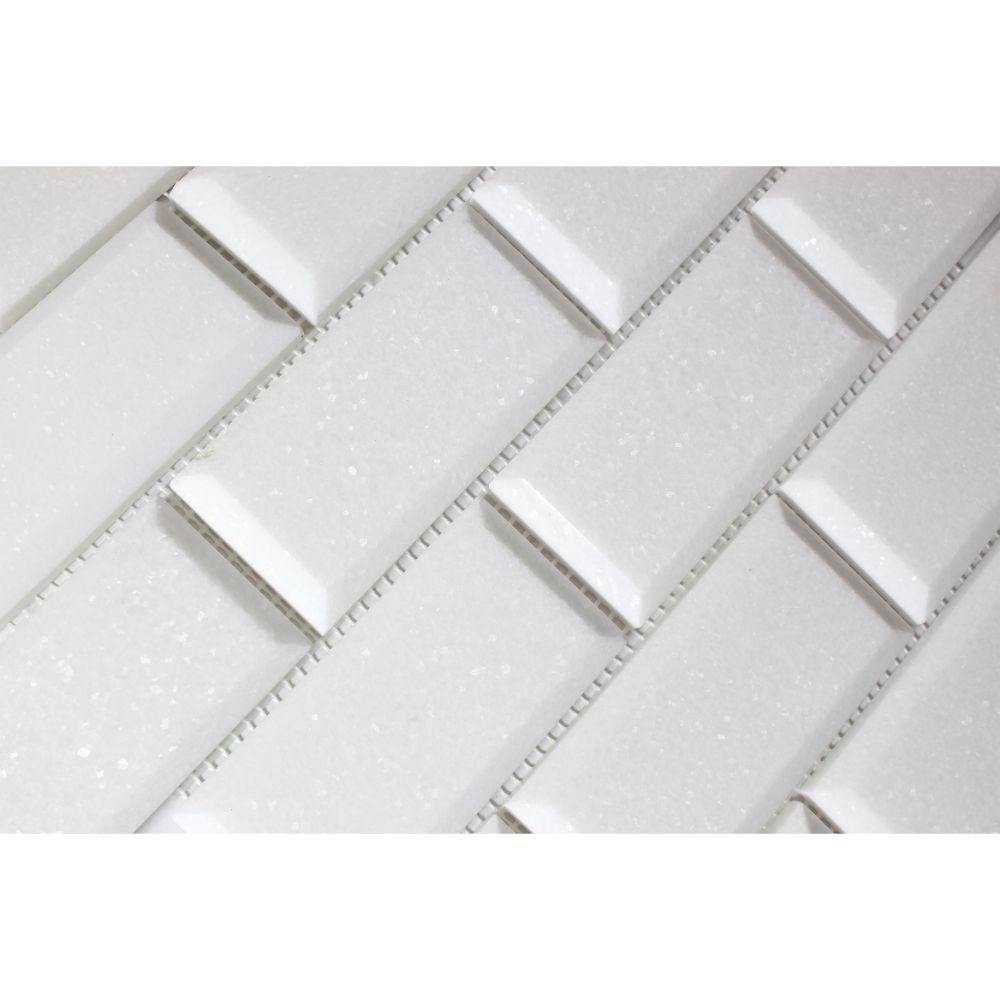 2 x 4 Polished Thassos White Marble Deep-Beveled Brick Mosaic Tile - Tilephile