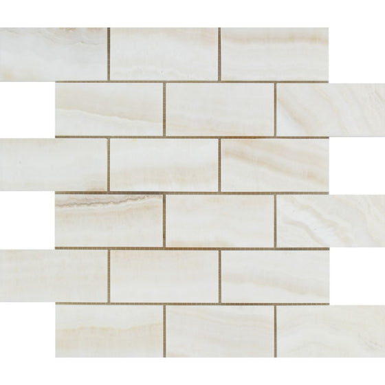 2 x 4 Polished White Onyx Brick Mosaic Tile - (Vein-Cut) - Tilephile