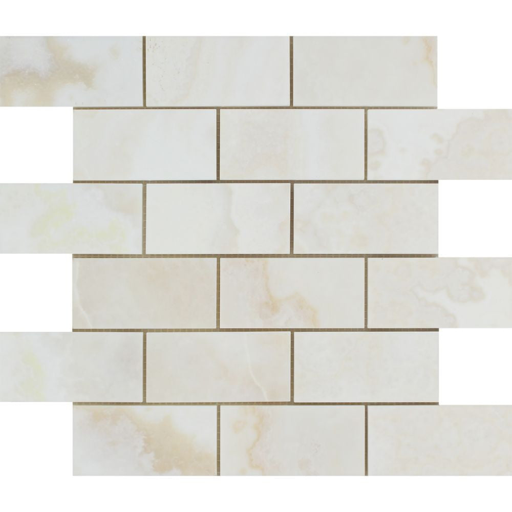 2 x 4 Polished White Onyx Mosaic Tile - (Cross-Cut) - Tilephile