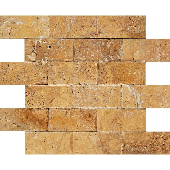 2 x 4 Split-faced Gold Travertine Brick Mosaic Tile - Tilephile