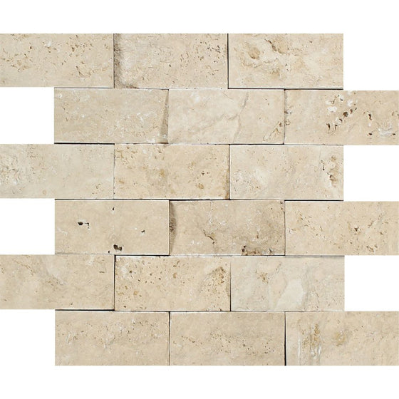 2 x 4 Split-faced Ivory Travertine Brick Mosaic Tile - Tilephile