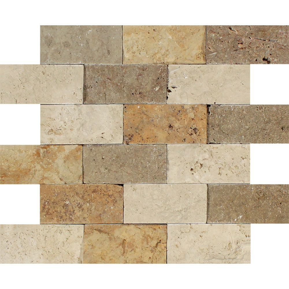 2 x 4 Split-faced Mixed Travertine Brick Mosaic Tile (Ivory + Noce + Gold) Sample - Tilephile