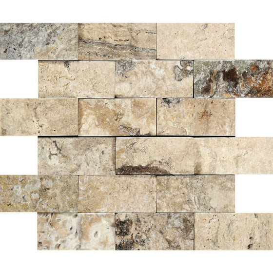 2 x 4 Split-faced Philadelphia Travertine Brick Mosaic Tile - Tilephile