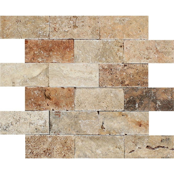 2 x 4 Split-faced Scabos Travertine Brick Mosaic Tile - Tilephile