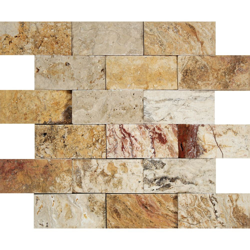 2 x 4 Split-faced Valencia Travertine Brick Mosaic Tile - Tilephile