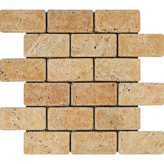 2 x 4 Tumbled Gold Travertine Brick Mosaic Tile - Tilephile