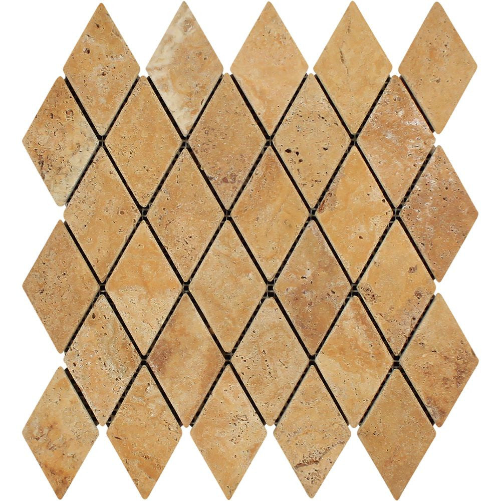 2 x 4 Tumbled Gold Travertine Diamond Mosaic Tile - Tilephile