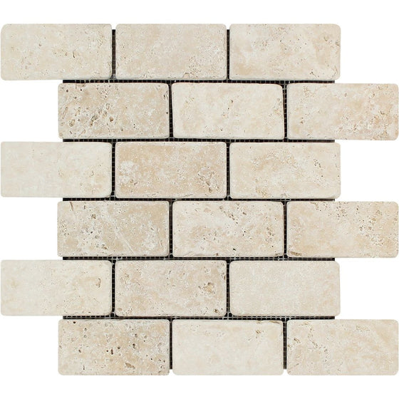 2 x 4 Tumbled Ivory Travertine Brick Mosaic Tile - Tilephile