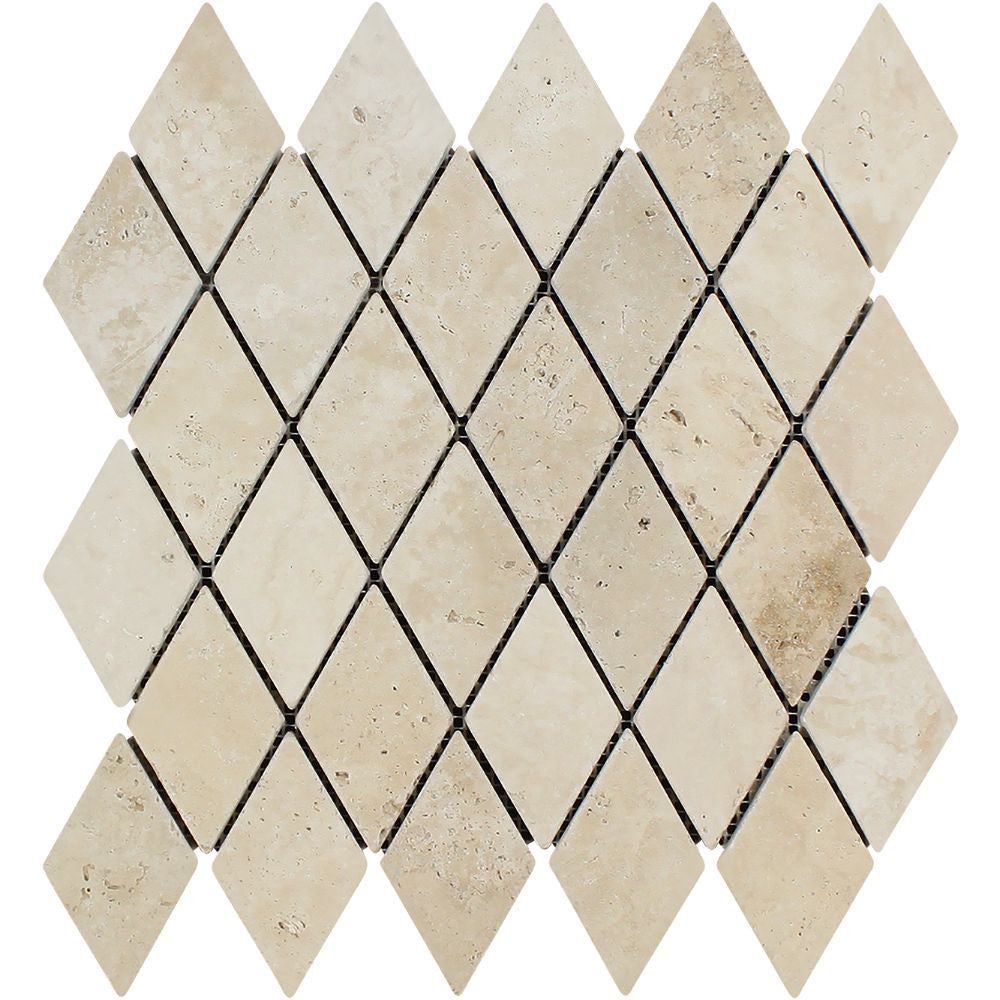 2 x 4 Tumbled Ivory Travertine Diamond Mosaic Tile Sample - Tilephile