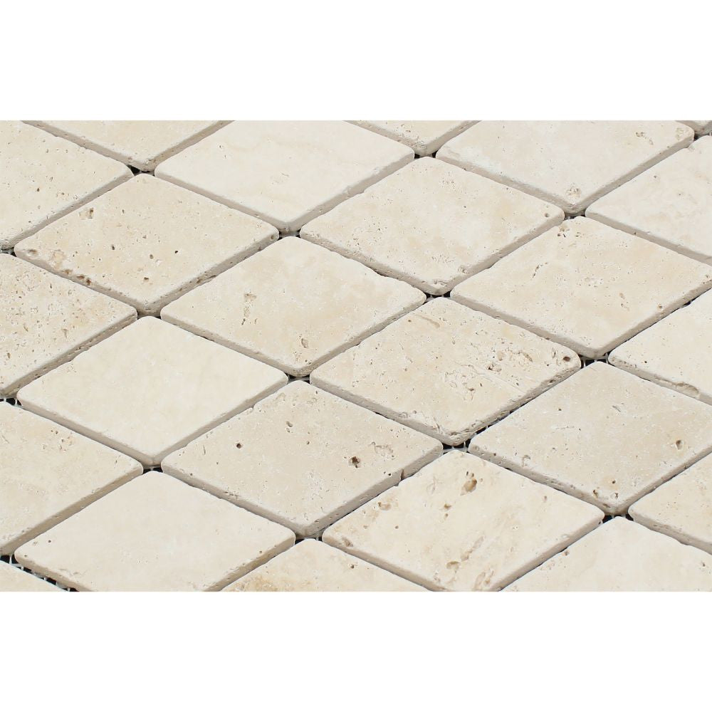 2 x 4 Tumbled Ivory Travertine Diamond Mosaic Tile - Tilephile