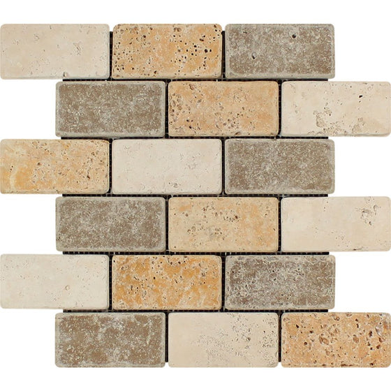 2 x 4 Tumbled Mixed Travertine Brick Mosaic Tile (Ivory + Noce + Gold)