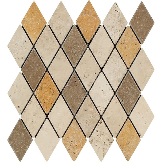 2 x 4 Tumbled Mixed Travertine Diamond Mosaic Tile (Ivory + Noce + Gold)