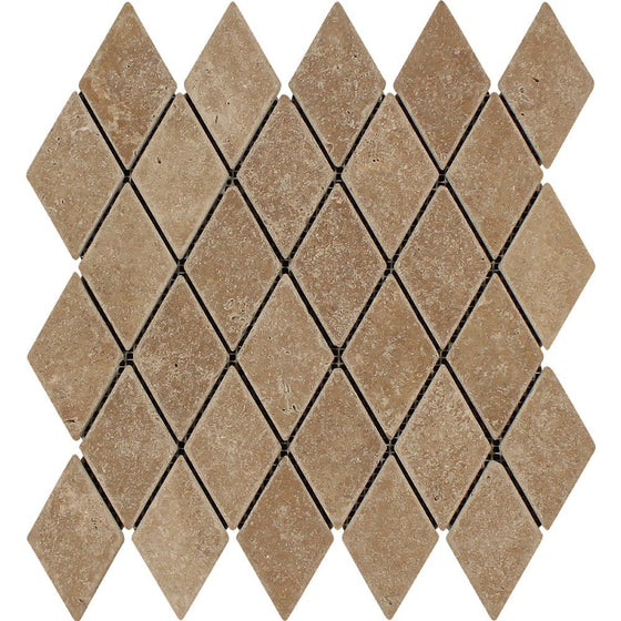 2 x 4 Tumbled Noce Travertine Diamond Mosaic Tile - Tilephile