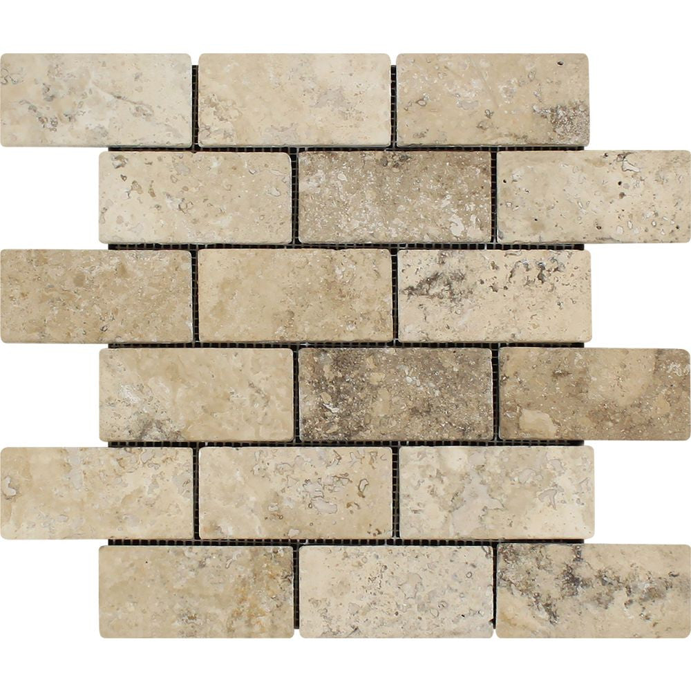 2 x 4 Tumbled Philadelphia Travertine Brick Mosaic Tile Sample - Tilephile