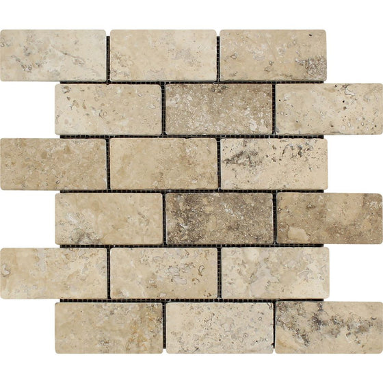 2 x 4 Tumbled Philadelphia Travertine Brick Mosaic Tile - Tilephile