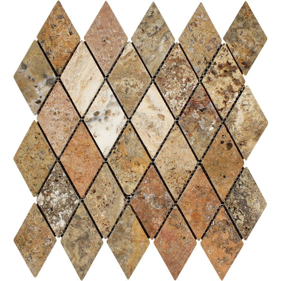 2 x 4 Tumbled Scabos Travertine Diamond Mosaic Tile