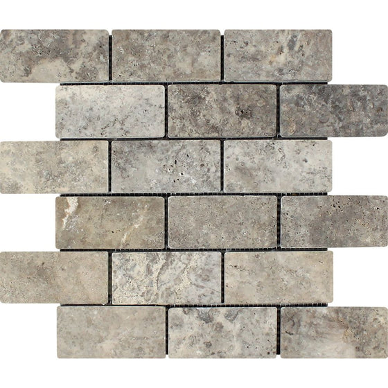 2 x 4 Tumbled Silver Travertine Brick Mosaic Tile - Tilephile