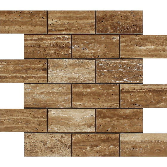 2 x 4 Unfilled, Brushed Noce Exotic (Vein-Cut) Travertine Brick Mosaic Tile - Tilephile