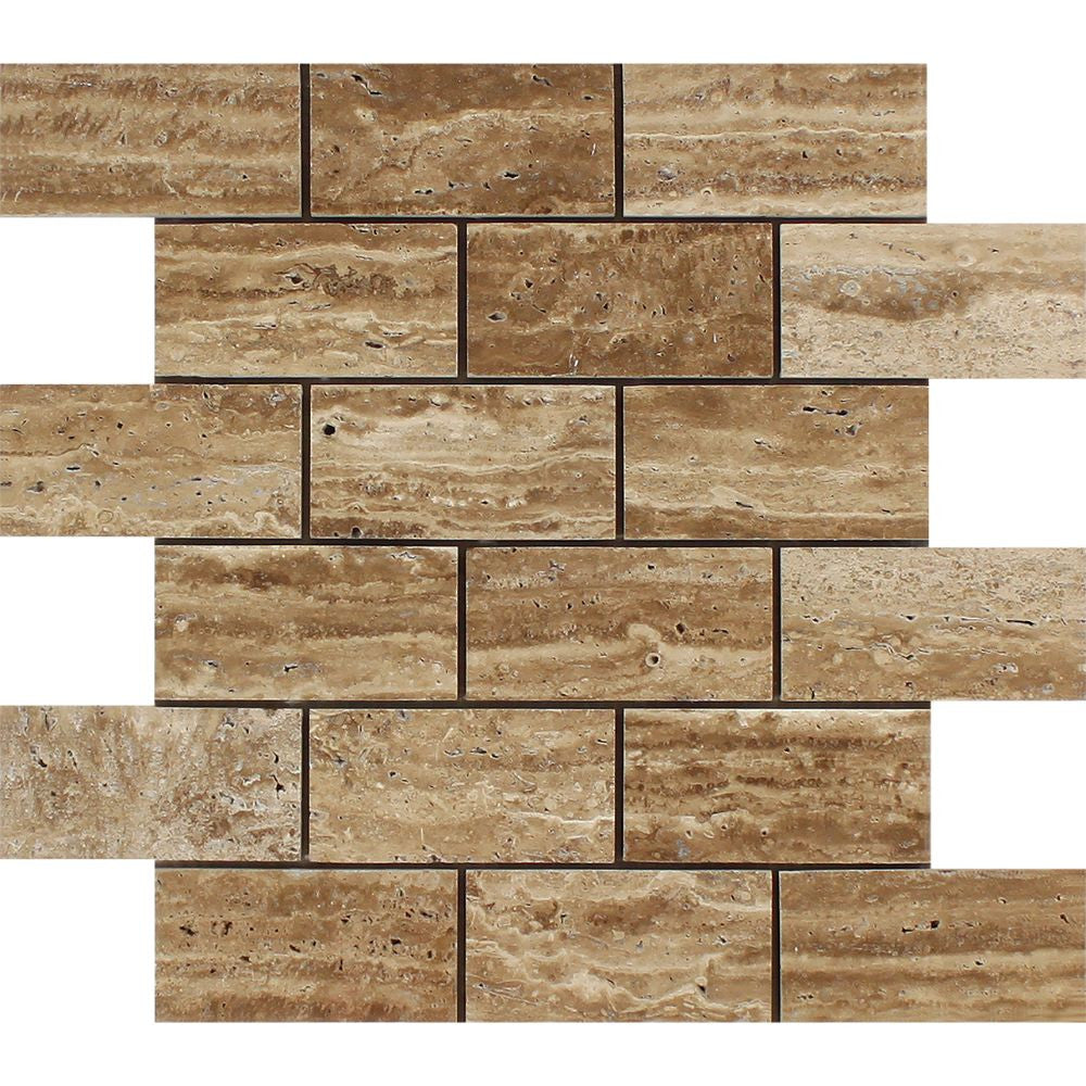 2 x 4 Unfilled, Polished Noce Exotic (Vein-Cut) Travertine Brick Mosaic Tile Sample - Tilephile