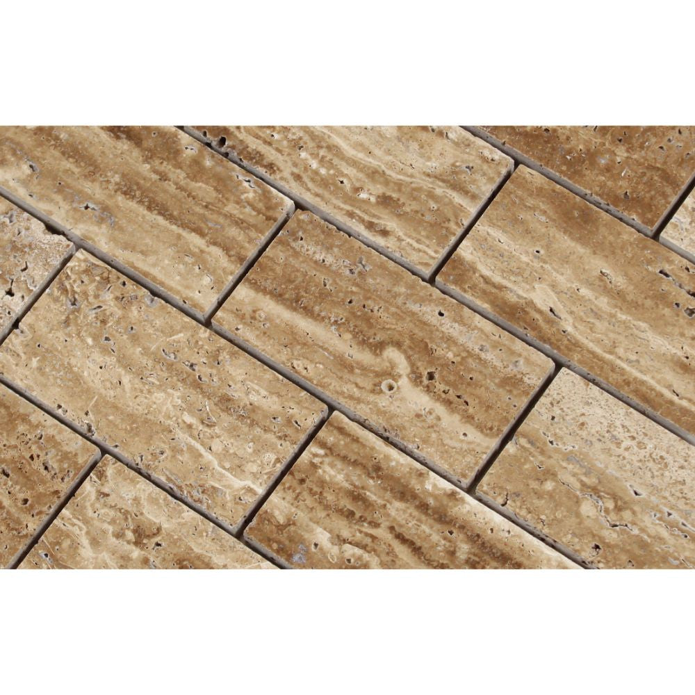 2 x 4 Unfilled, Polished Noce Exotic (Vein-Cut) Travertine Brick Mosaic Tile - Tilephile