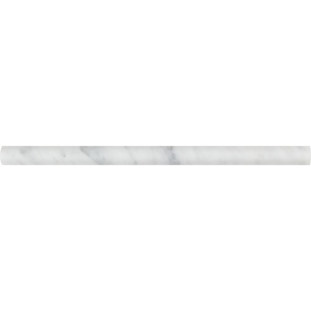 3/4 x 12 Polished Bianco Carrara Marble Bullnose Liner Sample - Tilephile