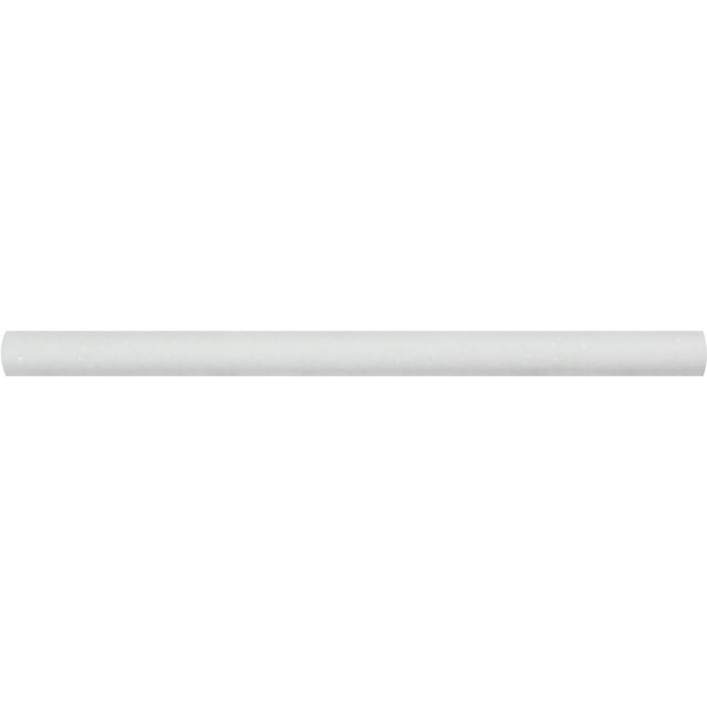 3/4 x 12 Honed Thassos White Marble Bullnose Liner Sample - Tilephile