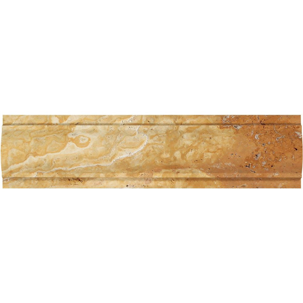 3 x 12 Honed Gold Travertine Arch Molding Sample