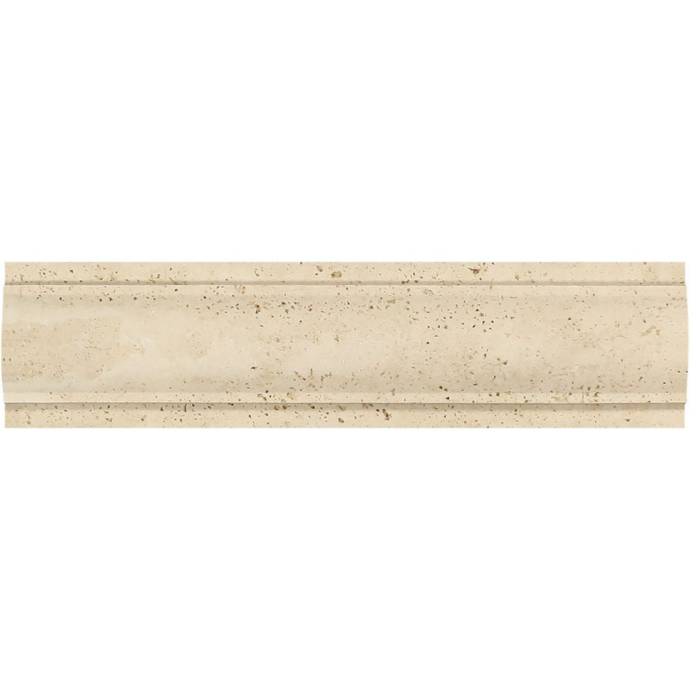 3 x 12 Honed Ivory Travertine Arch Molding Sample - Tilephile