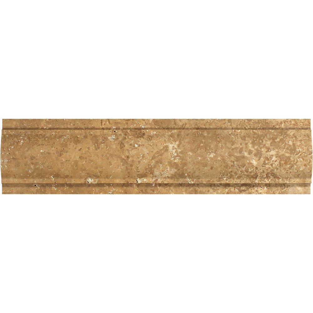 3 x 12 Honed Noce Travertine Arch Molding Sample - Tilephile