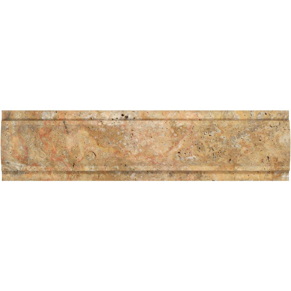 3 x 12 Honed Scabos Travertine Arch Molding Sample - Tilephile