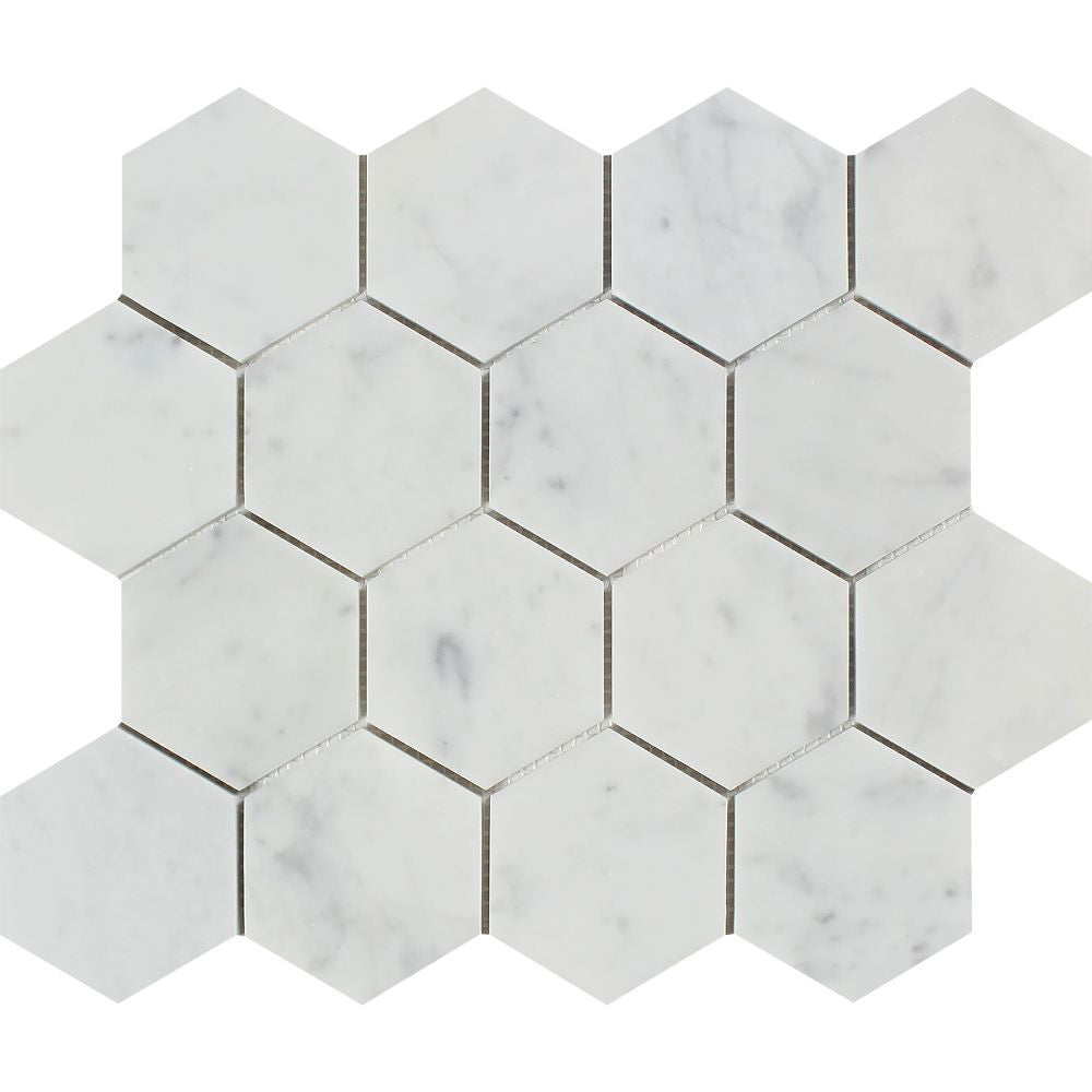 3 x 3 Honed Bianco Carrara Marble Hexagon Mosaic Tile Sample - Tilephile
