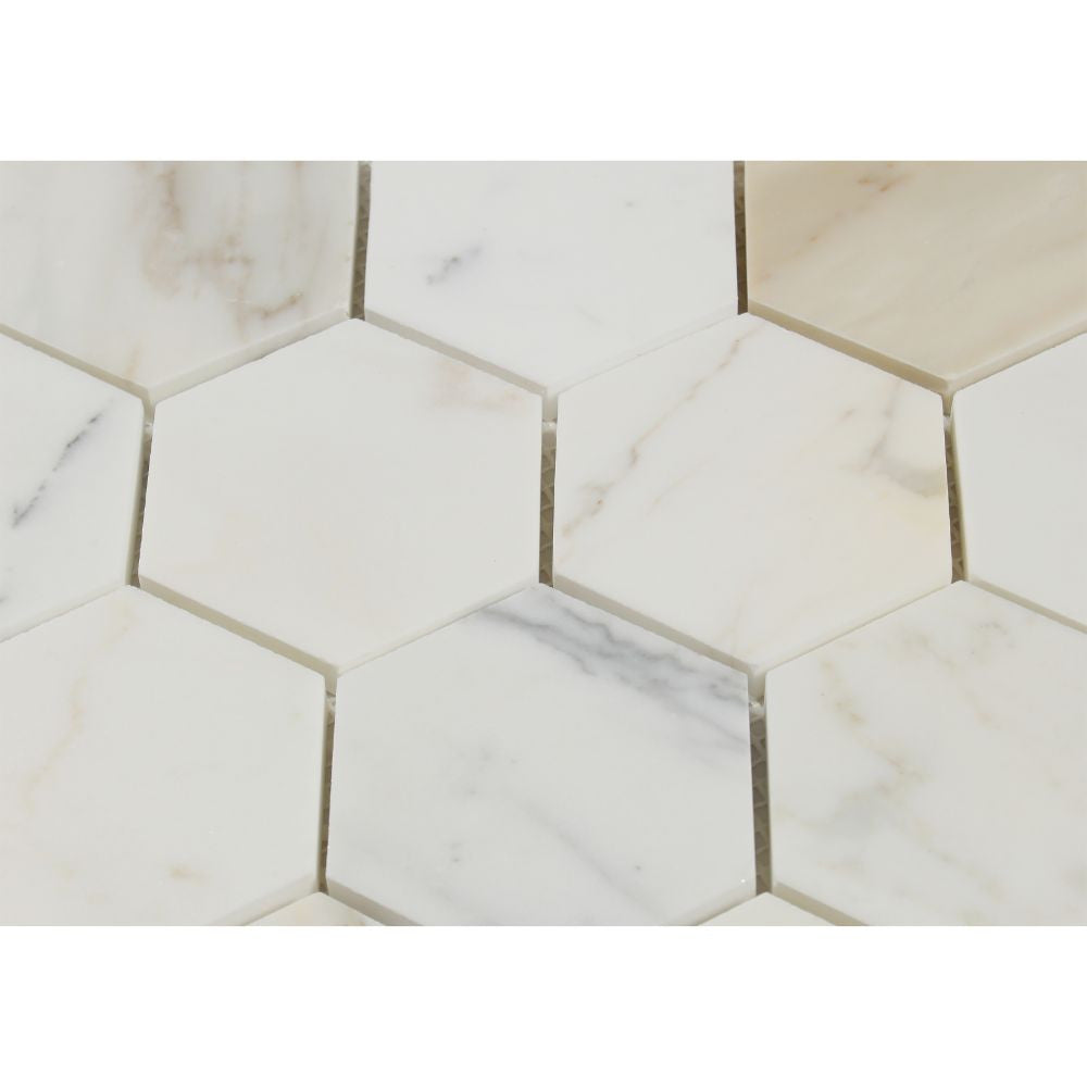 3 x 3 Honed Calacatta Gold Marble Hexagon Mosaic Tile - Tilephile