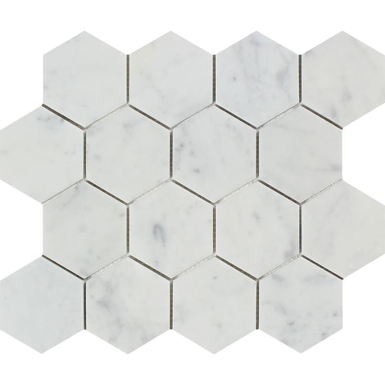3 x 3 Polished Bianco Carrara Marble Hexagon Mosaic Tile - Tilephile