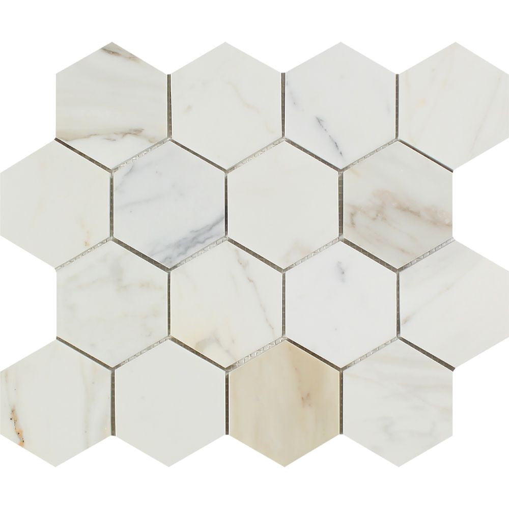 3 x 3 Polished Calacatta Gold Marble Hexagon Mosaic Tile Sample - Tilephile