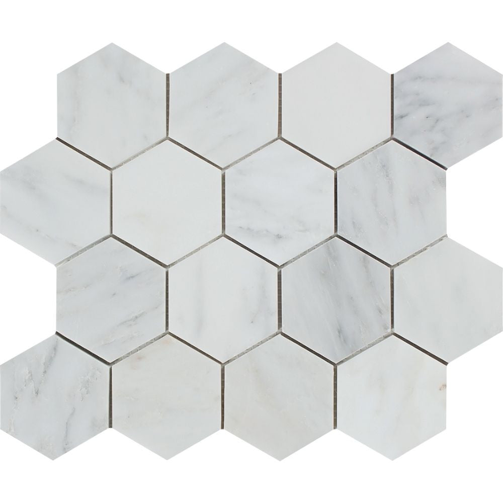 3 x 3 Polished Oriental White Marble Hexagon Mosaic Tile Sample - Tilephile