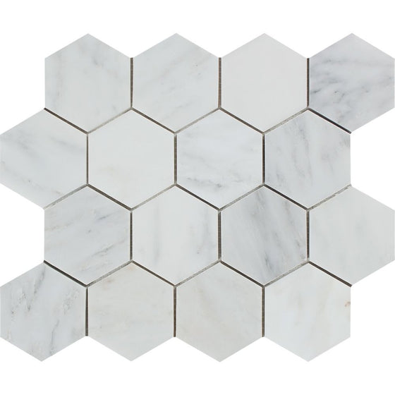 3 x 3 Polished Oriental White Marble Hexagon Mosaic Tile
